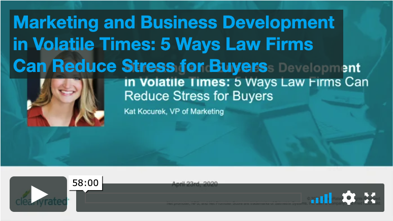 4.23.20 Marketing and Business During Volitile Times: 5 way Law Firms can Reduce Stress for Buyers